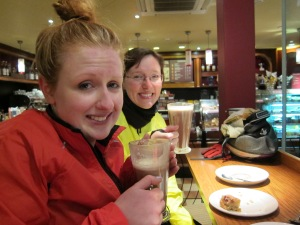 Well deserved hot chocolates. Try to smile Meg!
