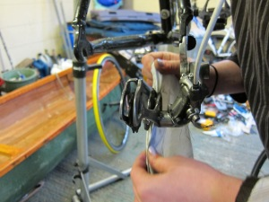 Megan getting the derailleur really clean