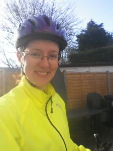 Happy to be outside at 7am for a bike ride...must be mad!