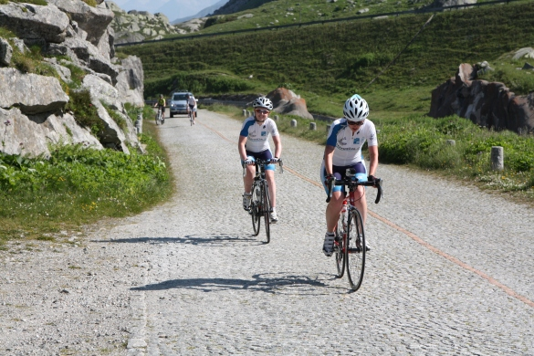 Struggling up the cobbles
