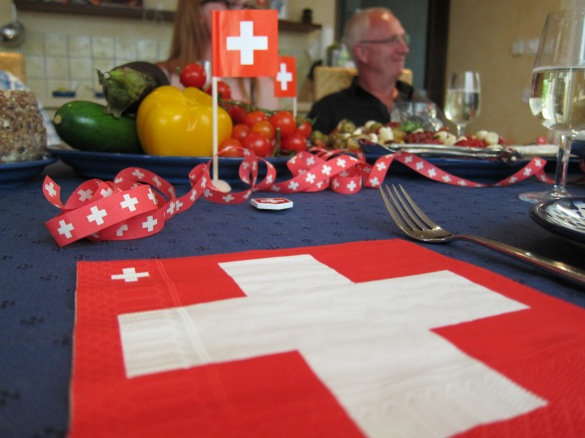 A Swiss-themed arrival party
